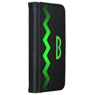 Green Accent Initial iPhone 6/6s Wallet Case