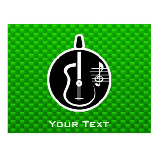 Green Acoustic Guitar Post Card