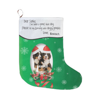 Green ADD YOUR DOG Photo and Name Dear Santa Large Christmas Stocking