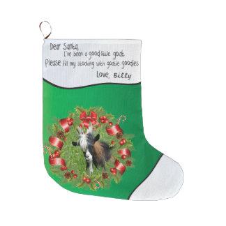 Green ADD YOUR GOAT Photo - Name Dear Santa Wreath Large Christmas Stocking