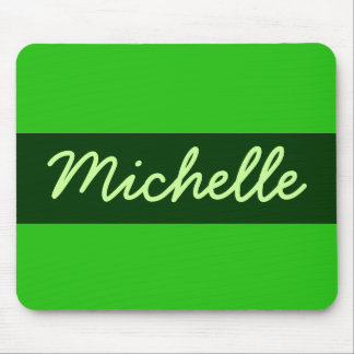 green Add your name Mousepads