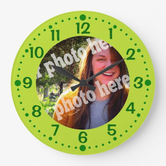 Green Add Your Photo Clock w/ Minutes Template