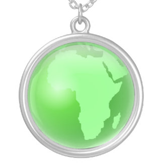 Green Africa Globe Round Pendant Necklace