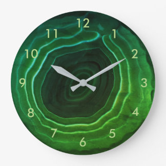 Green agate stone trendy smart with numbers. large clock