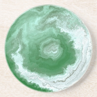 Green Agate Swirl Abstract Drink Coaster