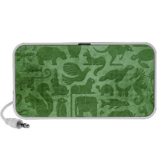 Green Aged and Worn Animal Kingdom Pattern Travel Speakers