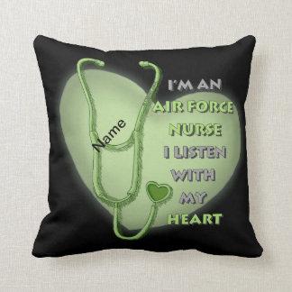 Green Air Force Nurse Throw Pillow