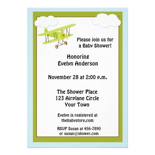 green airplane baby shower invitation 5 x 7 invitation card zazzle