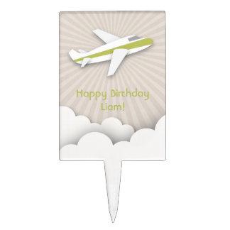 Green Airplane Birthday Cake Pick