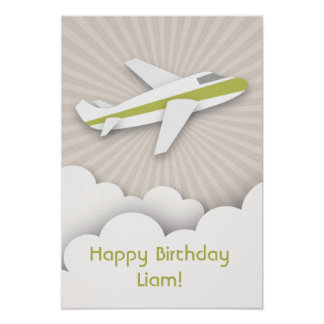 Green Airplane Birthday Poster