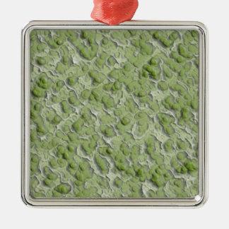 Green algae effect pattern. square metal christmas ornament