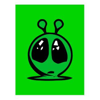 green alian big eyes. postcard