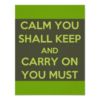 GREEN ALIEN CALM YOU SHALL KEEP CARRY ON YOU MUST CARD