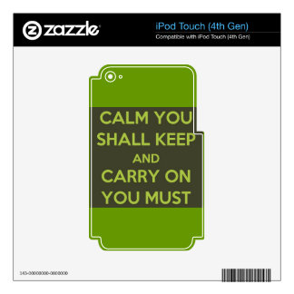 GREEN ALIEN CALM YOU SHALL KEEP CARRY ON YOU MUST iPod TOUCH 4G SKIN