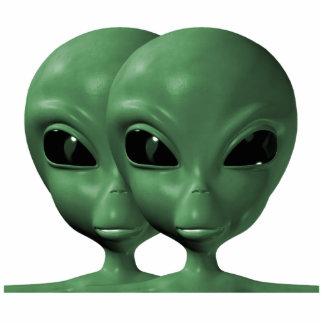 Green Alien Duo Photo Sculpture Pin