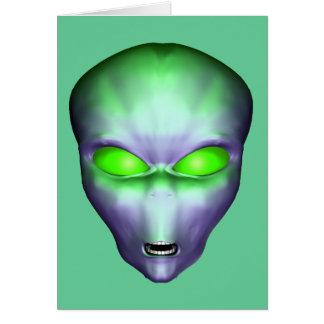 Green Alien Face Card