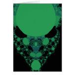 Green Alien Face Fractal Greeting Card