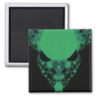 Green Alien Face Fractal Magnet