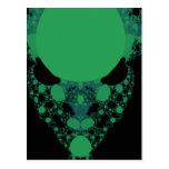 Green Alien Face Fractal Postcard