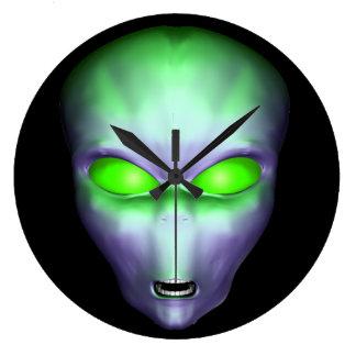 Green Alien Face Large Clock