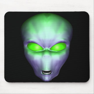 Green Alien Face Mouse Pad