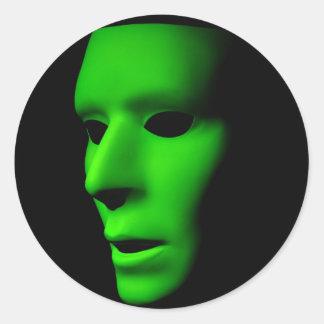 Green Alien Face on Black.jpg Classic Round Sticker