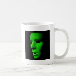 Green Alien Face on Black.jpg Coffee Mug
