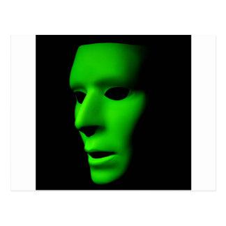 Green Alien Face on Black.jpg Postcard
