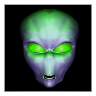 Green Alien Face Poster