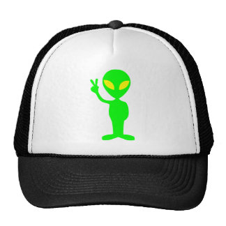 green alien giving the peace sign on the hat