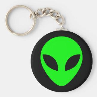 Green Alien Head Basic Round Button Keychain