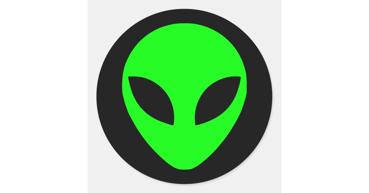 Green Alien Head Classic Round Sticker Zazzle