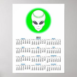 green alien head extreme baseball design poster
