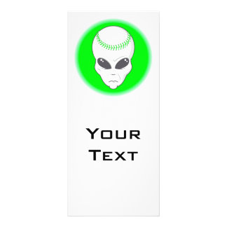 green alien head extreme baseball design rack card