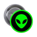 Green Alien Head Pinback Button