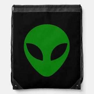 Green Alien Head Drawstring Backpacks