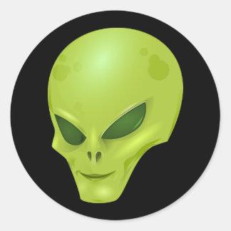 Green Alien Head Classic Round Sticker
