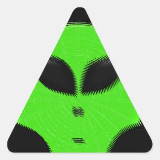 Green Alien Head Triangle Sticker