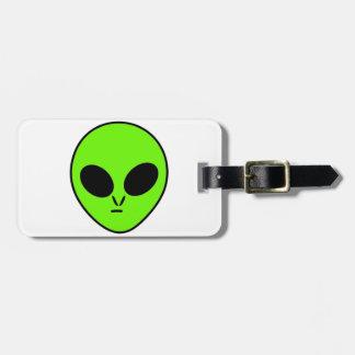 Green Alien Luggage Tag