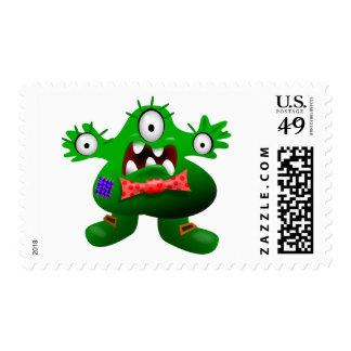 Green Alien Monster Cute Cartoon Kids Stamp