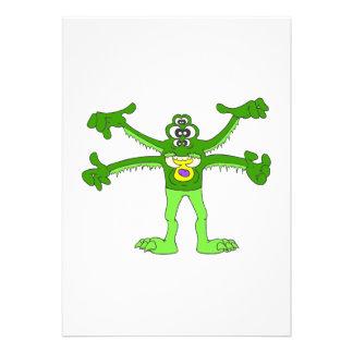 Green Alien monster Personalized Invite