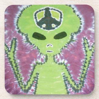 Green Alien Peace Sign Tie Dye Coaster