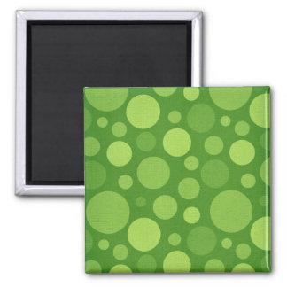 Green Alien Polka Bubble Dots 2 Inch Square Magnet