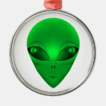 GREEN ALIEN ROUND METAL CHRISTMAS ORNAMENT