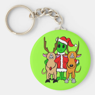 Green Alien Santa Keychain