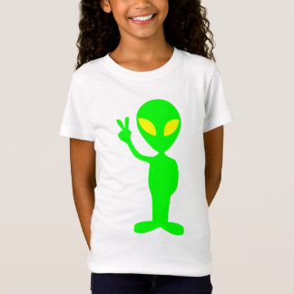 Green alien showing peace sign illustration T-Shirt
