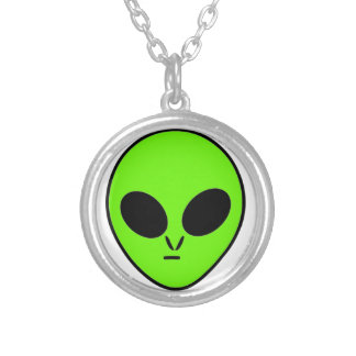 Green Alien Silver Plated Necklace