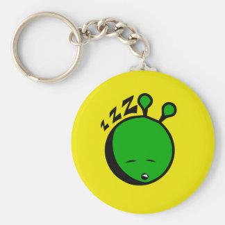 Green alien sleepy basic round button keychain