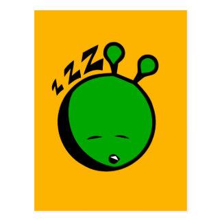 Green alien sleepy postcard
