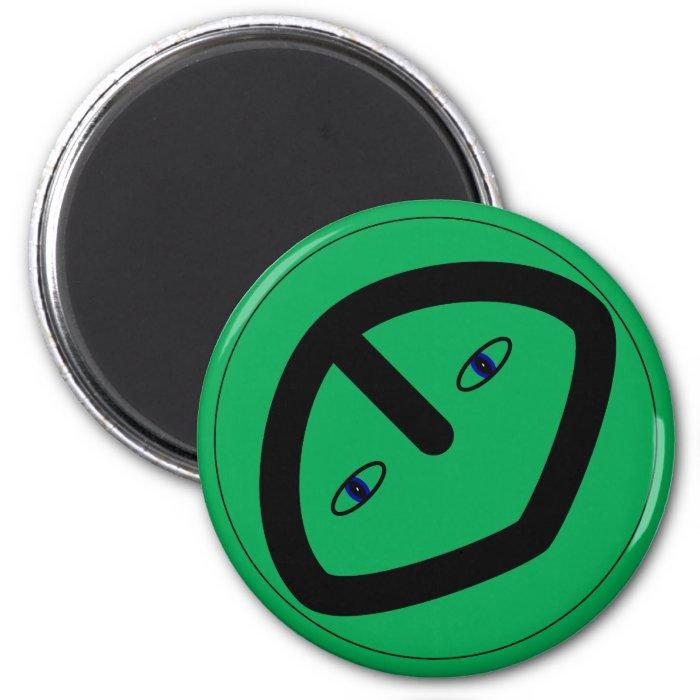 Green Alien style head 2 Inch Round Magnet